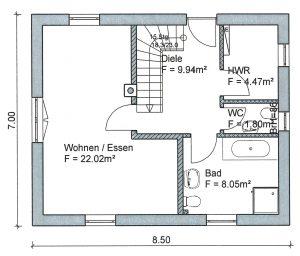 Grundriss Einfamilienhaus 1-88 EG