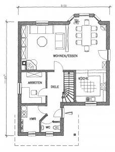 Grundriss Einfamilienhaus 12-128 EG