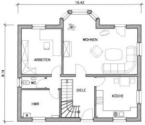 Grundriss Einfamilienhaus 19-136 EG