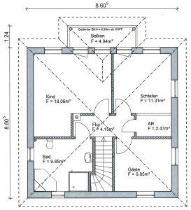 Grundriss Stadtvilla 1-118 DG