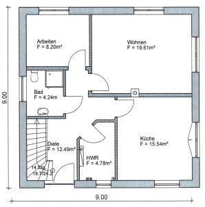 Grundriss Stadtvilla 2-127 EG