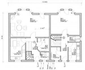 Grundriss Zweifamilienhaus 1 EG