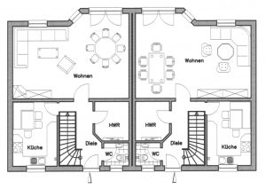 Grundriss Zweifamilienhaus 2 EG